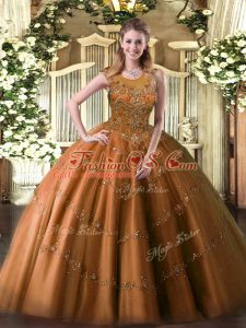 Floor Length Zipper Quince Ball Gowns Rust Red for Military Ball and Sweet 16 and Quinceanera with Beading and Appliques