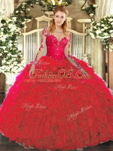 Customized Red Lace Up Scoop Lace and Ruffles 15th Birthday Dress Organza Sleeveless