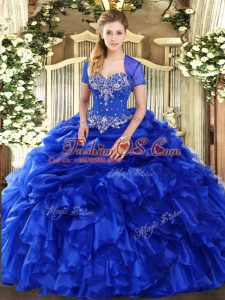 Royal Blue Sweetheart Neckline Beading and Ruffles and Pick Ups Quinceanera Dress Sleeveless Lace Up