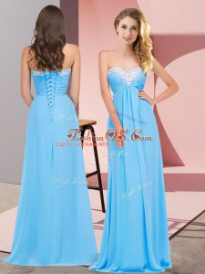 Dynamic Sleeveless Floor Length Ruching Lace Up Dress for Prom with Aqua Blue