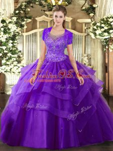 Beautiful Purple Ball Gowns Beading and Ruffles Vestidos de Quinceanera Clasp Handle Tulle Sleeveless Floor Length