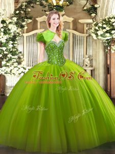 Tulle Lace Up Sweetheart Sleeveless Floor Length Ball Gown Prom Dress Beading