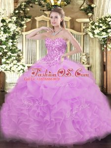 Lace and Ruffles and Pick Ups Ball Gown Prom Dress Lilac Lace Up Sleeveless Floor Length