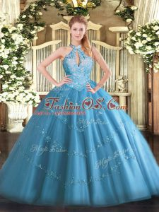 Latest Baby Blue Ball Gowns Halter Top Sleeveless Tulle Floor Length Lace Up Beading Vestidos de Quinceanera
