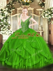 Sumptuous Tulle Sleeveless Floor Length Sweet 16 Quinceanera Dress and Beading and Ruffles
