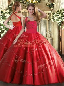 Graceful Red Lace Up Halter Top Appliques Quinceanera Gowns Tulle Sleeveless