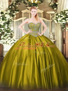 Graceful Floor Length Ball Gowns Sleeveless Olive Green Sweet 16 Dresses Lace Up