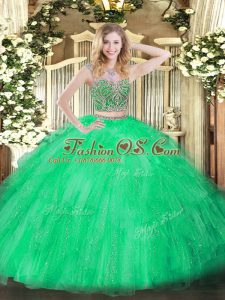 Two Pieces Quinceanera Dresses Green Scoop Tulle Sleeveless Floor Length Lace Up