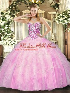 Fashion Rose Pink Lace Up Sweetheart Beading and Ruffles Quinceanera Dresses Tulle Sleeveless