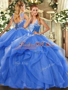 Fashion Sleeveless Floor Length Beading and Ruffles Lace Up Quinceanera Dress with Blue