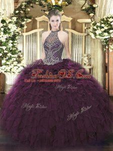Floor Length Dark Purple Sweet 16 Quinceanera Dress Halter Top Sleeveless Lace Up