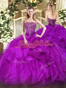 Purple Sweet 16 Quinceanera Dress Military Ball and Sweet 16 and Quinceanera with Beading and Ruffles Strapless Sleeveless Lace Up