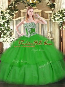 Decent Green Strapless Lace Up Beading and Ruffled Layers Quince Ball Gowns Sleeveless