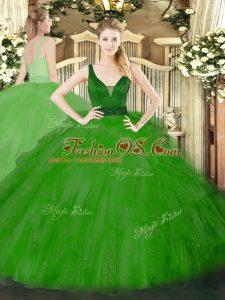 Green Sleeveless Floor Length Beading and Ruffles Zipper Quinceanera Dresses
