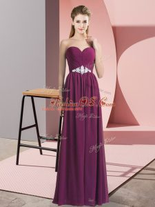 Empire Juniors Party Dress Dark Purple Sweetheart Chiffon Sleeveless Floor Length Lace Up