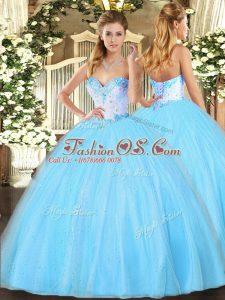 Beautiful Aqua Blue Lace Up Sweetheart Beading 15 Quinceanera Dress Tulle Sleeveless