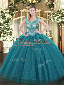 Edgy Teal Scoop Neckline Beading Sweet 16 Quinceanera Dress with Jacket Sleeveless Lace Up