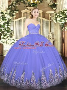 Sweetheart Sleeveless Zipper Sweet 16 Quinceanera Dress Lavender Tulle