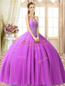 Beading Sweet 16 Dress Lilac Lace Up Sleeveless Floor Length