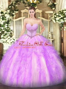 Custom Made Lilac Tulle Lace Up Ball Gown Prom Dress Sleeveless Floor Length Beading and Ruffles