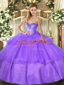 New Arrival Ball Gowns Quinceanera Gown Lavender Sweetheart Tulle Sleeveless Floor Length Lace Up