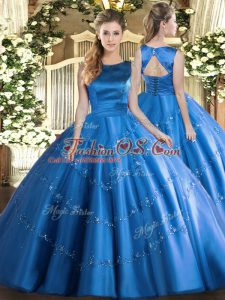Fashionable Baby Blue Sleeveless Tulle Lace Up Sweet 16 Quinceanera Dress for Military Ball and Sweet 16 and Quinceanera
