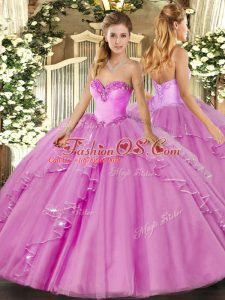 Amazing Floor Length Lilac 15th Birthday Dress Sweetheart Sleeveless Lace Up