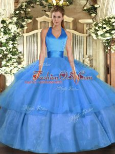 Fancy Baby Blue Tulle Lace Up Sweet 16 Quinceanera Dress Sleeveless Floor Length Ruffled Layers