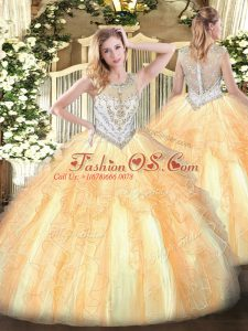 Floor Length Zipper Quinceanera Dresses Gold for Military Ball and Sweet 16 and Quinceanera with Beading and Ruffles