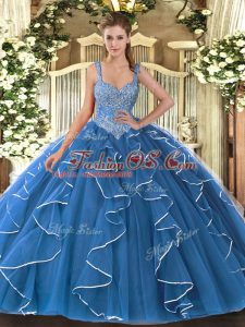 Sexy Blue Tulle Lace Up V-neck Sleeveless Floor Length Vestidos de Quinceanera Beading and Ruffles