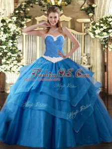 Baby Blue Lace Up Quinceanera Dresses Appliques and Ruffled Layers Sleeveless Floor Length