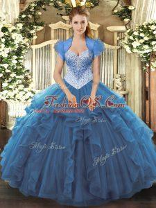 Nice Sweetheart Sleeveless Lace Up Sweet 16 Dress Blue Tulle