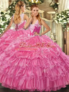 Romantic Organza Sleeveless Floor Length Quinceanera Dresses and Beading and Ruffled Layers and Pick Ups