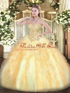 Champagne Ball Gowns Sweetheart Sleeveless Organza Floor Length Lace Up Appliques and Ruffles Sweet 16 Dresses
