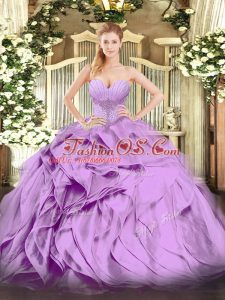 Custom Design Organza Sweetheart Sleeveless Lace Up Beading and Ruffles 15th Birthday Dress in Lavender