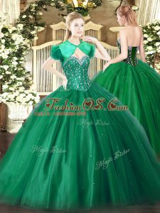 Dark Green Tulle Lace Up Sweetheart Sleeveless Floor Length 15th Birthday Dress Beading