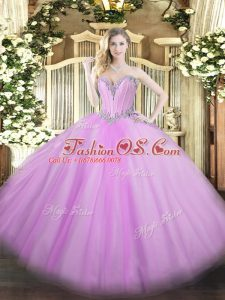 Inexpensive Sweetheart Sleeveless 15 Quinceanera Dress Floor Length Beading Lavender Tulle