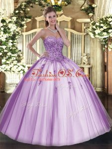 Luxury Lavender Sweetheart Neckline Beading Sweet 16 Quinceanera Dress Sleeveless Lace Up