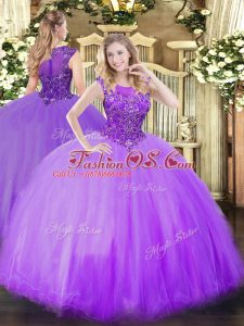 Lilac Sleeveless Beading Floor Length Quinceanera Dress