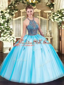 Glorious Aqua Blue Ball Gowns Beading and Appliques Quinceanera Dress Lace Up Tulle Sleeveless Floor Length