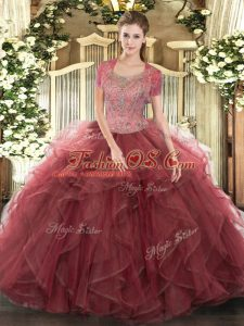 Attractive Sleeveless Tulle Floor Length Clasp Handle Sweet 16 Quinceanera Dress in Burgundy with Beading and Ruffled Layers