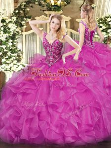 Colorful Floor Length Fuchsia Sweet 16 Quinceanera Dress Organza Long Sleeves Beading and Ruffles