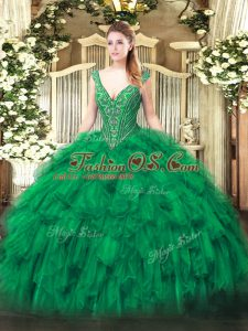 Top Selling Floor Length Ball Gowns Sleeveless Green Quinceanera Gowns Lace Up