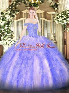 Custom Made Sleeveless Lace Up Floor Length Beading and Ruffles Quince Ball Gowns