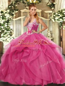 Tulle Straps Sleeveless Lace Up Beading and Ruffles Sweet 16 Dress in Hot Pink