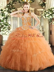 Exquisite Orange Tulle Lace Up Sweetheart Sleeveless Floor Length Quinceanera Dress Beading and Ruffles
