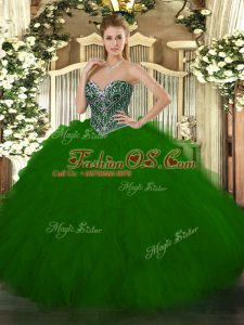 Green Ball Gowns Tulle Sweetheart Sleeveless Beading and Ruffles Floor Length Lace Up 15th Birthday Dress