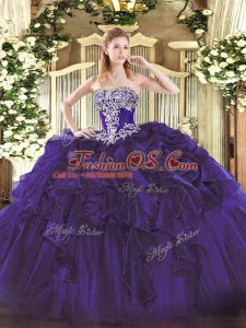 Latest Beading and Ruffles Quinceanera Gowns Purple Lace Up Sleeveless Floor Length