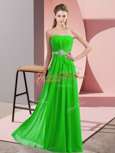 Sleeveless Floor Length Beading Lace Up Juniors Party Dress with Green