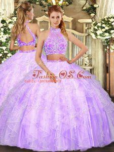 Custom Designed Lilac Tulle Criss Cross Halter Top Sleeveless Floor Length Ball Gown Prom Dress Beading and Ruffles